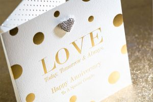gold hot foil embossed anniversary card