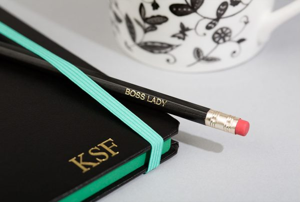 Personalised notepad with initials and 'BOSS LADY' pencil