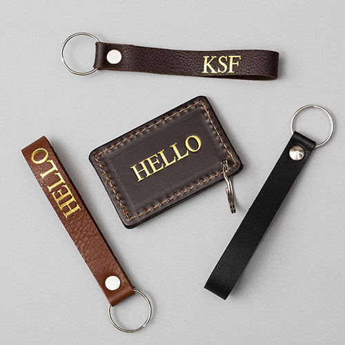 hot foil embossed leather key rings