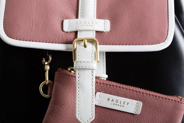 pink hot foil printed radley handbag