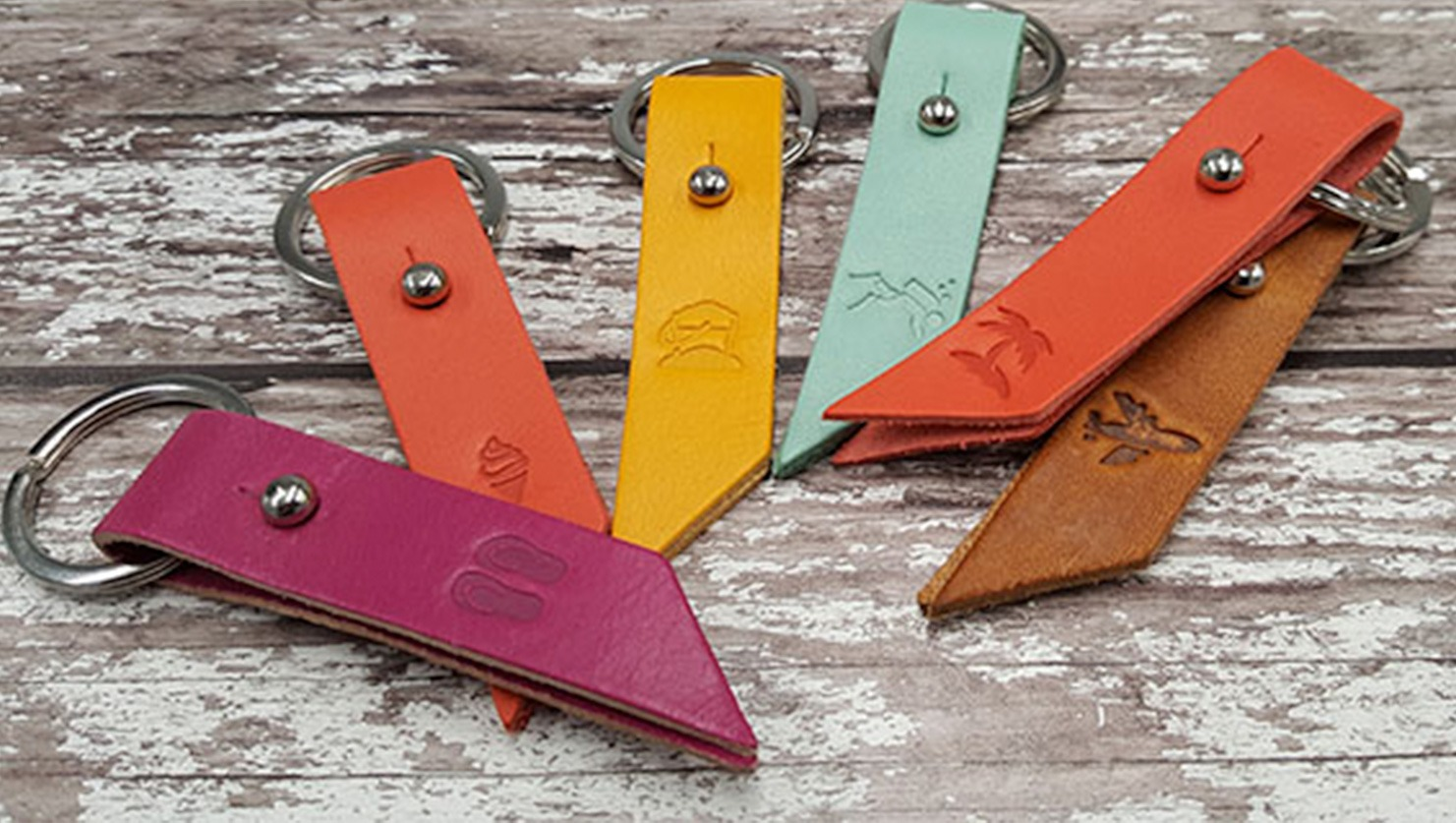 debossed key rings in variety of colours