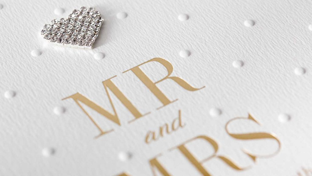 hot foil embossed wedding card saying Mr and Mrs