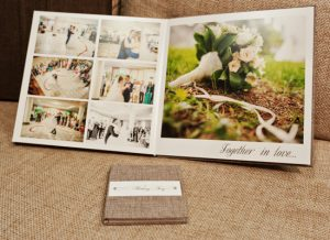 Wedding photo album with hot foiled 'together in love' scripture